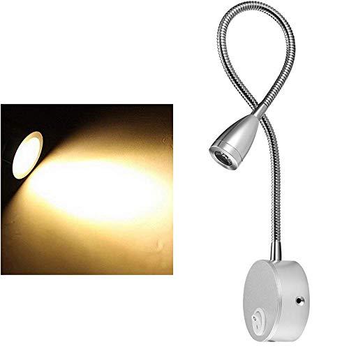 Konesky Schwanenhals LED Wandleuchte, 3W Bettleseleuchte Flexibel Stecker verdrahtet On/Off Berühren Sie Dimmer für Schlafzimmer, Büro, Werkbank, Studio (Silber (Warmes Licht))