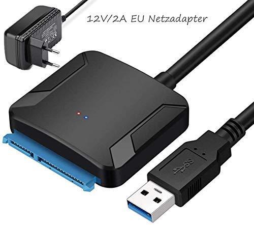 """Amtake USB 3.0 zu SATA Adapter Kabel für 2.5\""""/3.5\"""" HDD/SSD Laufwerke, Unterstützt UASP SATA III(mit 12V/2A EU Netzadapter)"""
