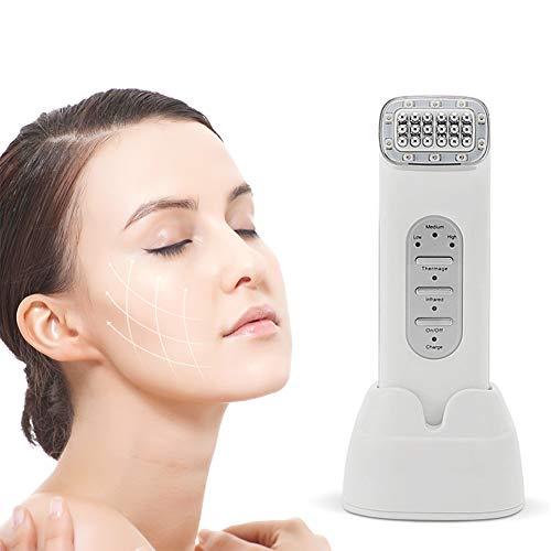 YANXS Instrumento de Belleza RF Masajeador Facial Anti Arrugas Grosero Matriz de Puntos Facial Frecuencia de Radio Levantamiento Facial Máquina Estiramiento de la Piel,Blanco