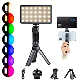 RGB LED Video Light, Portable Built-in Rechargeable Battery LED Lighting Kit for Photography Video Recording with Tabletop Stand, 360° Full Color 20 Lighting Effects Lightweight Aluminum Alloy Shell