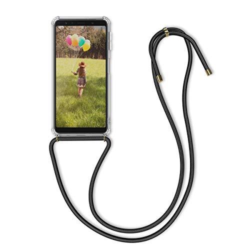 kwmobile Samsung Galaxy A7 (2018) Hülle - mit Kordel zum Umhängen - Silikon Handy Schutzhülle - Transparent Schwarz