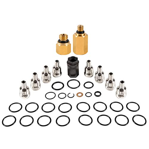 High Pressure Oil Rail Ball Tube Repair Kit for Ford 6.0 Powerstroke with Nipple Cup Socket, Leak Test Kit, 8 O-Rings and Set of 9 Injector Seal kit