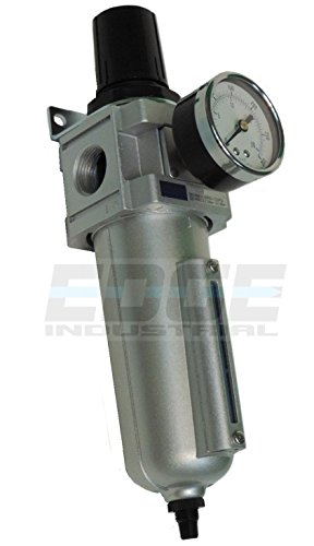 HEAVY DUTY COMPRESSED AIR FILTER REGULATOR COMBO PIGGYBACK, METAL BOWL, VISIBLE SIGHT GLASS, 5 MICRON ELEMENT (3/4' AUTO DRAIN)