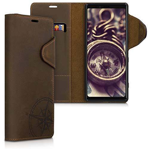 kalibri Wallet Case Compatible with Sony Xperia 1 - Real Leather Book Style Cover with Card Slot - Navigational Compass Brown