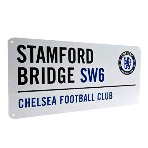 Chelsea FC Football Club White Stamford Bridge Metal Street Wall Sign Official
