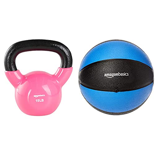 Amazon Basics Vinyl Kettlebell - 15 Pounds, Pink & Workout Fitness Exercise Weighted Medicine Ball - 10 Pounds, Blue and Black
