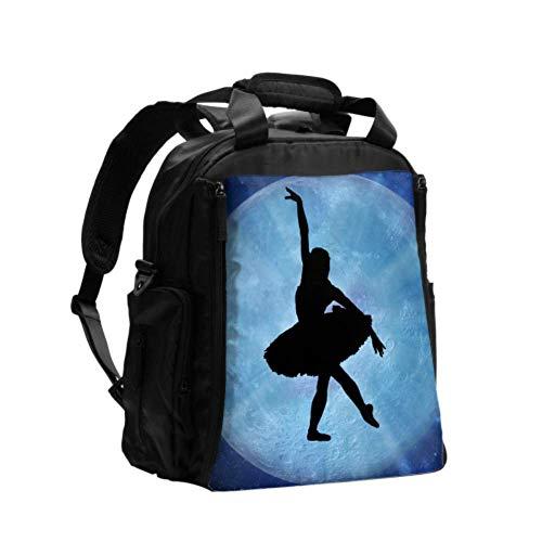 Mochila Bolso de pañales para niños Silueta de ballet Azul Deslumbra Rayos Pose de baile Mochila impresa Bolsa de pañales Mochila de viaje multifunción con pañales para el cuidado del bebé