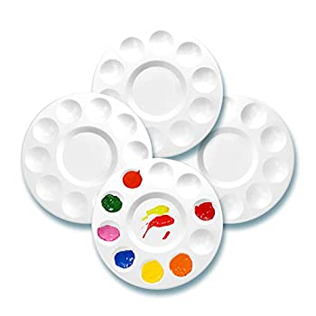 WNATN Paint Tray Palettes Plastic White Palettes for Kids & Students,Paint Tray for Art Class ,Craft DIY or Have a Birthday Painting Party-4pcs