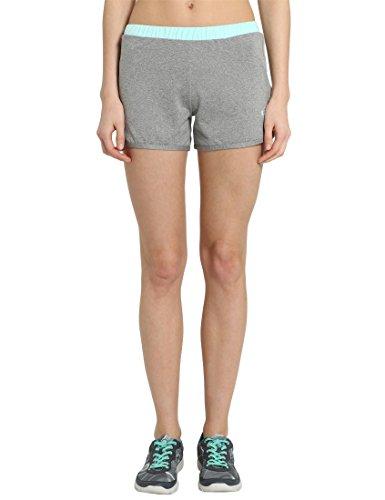 Ultrasport - Pantalones Cortos de Fitness para Mujer, Gris/Agua, Talla L