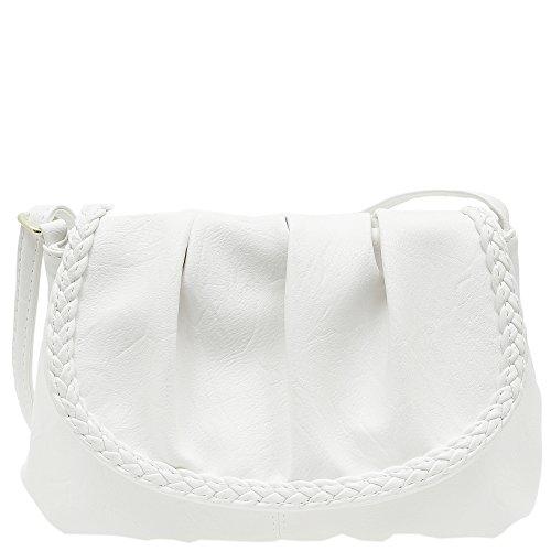 Kleine Damentasche Umhängetasche Citytasche bag Schultertasche Handtasche Clutch 23 x 14 cm (Weiss)