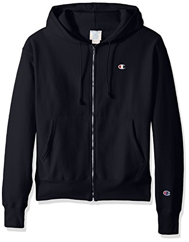 Champion Life Herren Reverse Weave Full-Zip Hoodie Sweatshirt, Navy/Left Chest C Logo & Sleeve Patch, Medium