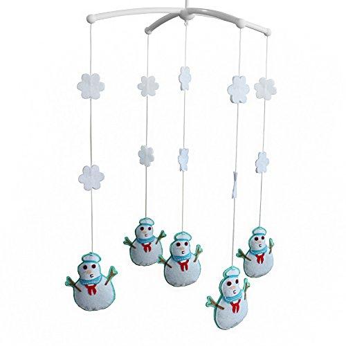 Décoration de lit de bébé Cadeau nouveau-né Mobile musical fait à la main Bonhomme de neige
