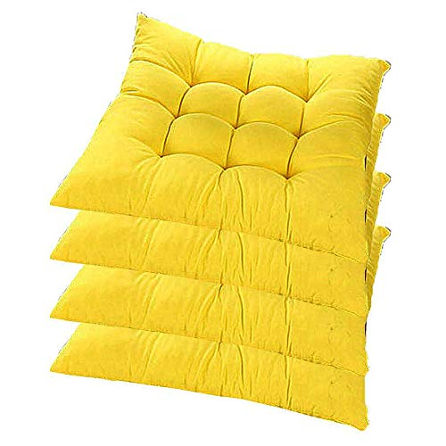 XNDCYX Chair Cushion Indoor/Outdoor, Thickened Wicker Cushion Square Filled Chair Pad Cushion Seat Cushions for Patio Chairs Home Office Dinning Chair, Durable, 40X40x5 cm,Yellow,4 Pack
