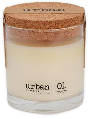 Urban Concepts by DECOCANDLES | Tranquility - Lemongrass & Wild Basil - Highly Scented Candle - Long...