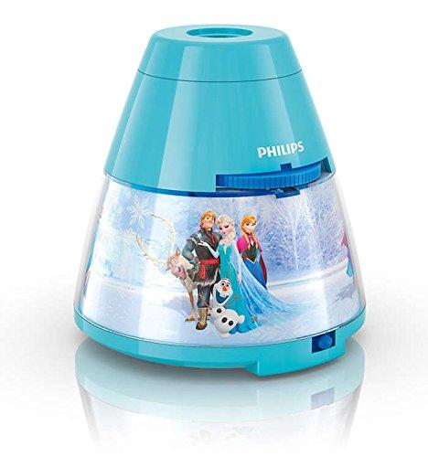 Philips Disney Frozen - Proyector y luz nocturna 2 en 1, LED, luz blanca cálida, bombilla de 0,3 W, color azul