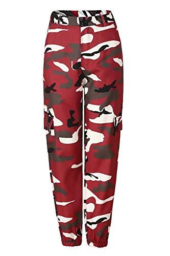 Symina Pantalon De Jogging pour Femmes Sarouel Taille Haute Slim Longs Pantalons Poches Cargo Pants Pantalon Outdoor Plus Taille S-3XL (Jujube Red,M)