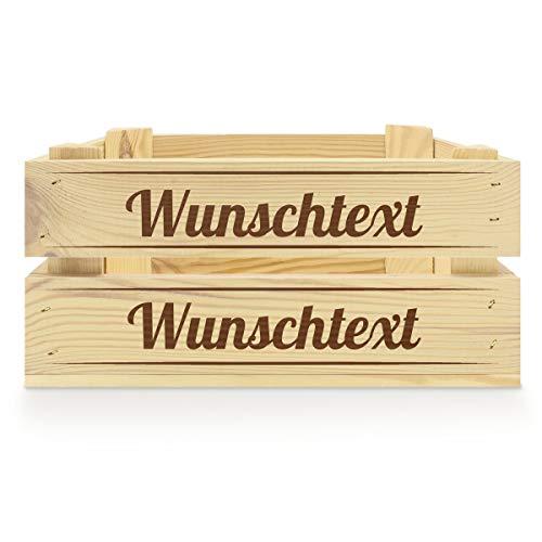 printplanet® - Holzkiste mit Name selbst gestalten - Holzkiste mit Text oder Wunschnamen Personalisieren und Bedrucken - Motiv : Klassisch