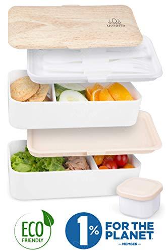 Umami Premium Lunchbox – 1 Soßendose & 3-teiliges Besteck – Japanische Luftdichte Bento Box – Brotdose mit Fächern – Zero Waste – Mikrowellen- & Geschirrspülerfest – BPA-frei – 5 Jahre Garantie