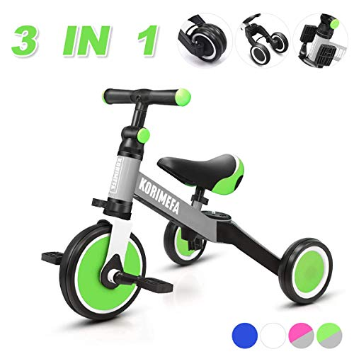 KORIMEFA 3 in 1 Multi Dreirad ab 1 Jahre Laufräder Laufrad Kinderdreirad Lauffahrrad für Kinder CE-Zertifizierung für 10-36 Monate Mädchen Junge