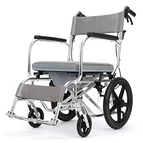 Dusch- und Toilettenrollstuhl,Rollen Toilettenrollstuhl,Nachtstuhl auf Rollen,Aluminiumlegierung Material Klappbares Fußpedal und Rückenbrett 20 Zoll Rutschfest Offroad-Reifen