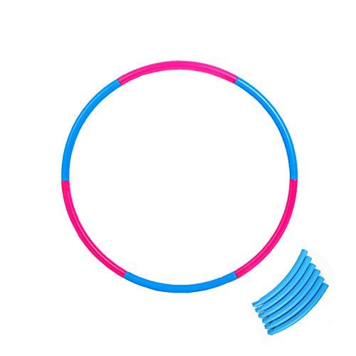 Hula Hoop Für Erwachsene Und Kinder Zum Trainieren, Hochwertige Gewichtete Hula-Ringe In Hochwertiger Qualität, Einstellbares Gewicht, Abnehmbares Design, Für Fitness, Tanzen (55cm ( 6pcs ),Pink&Blue)