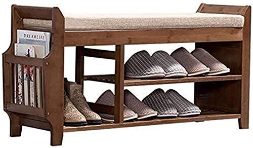 Estante de zapatos Zapatero de madera sólida del zapato Bastidores, Estante for el dormitorio de la sala de estar con asiento suave, heces for Corredor, dormitorio de la sala de estar, ahorro de espac