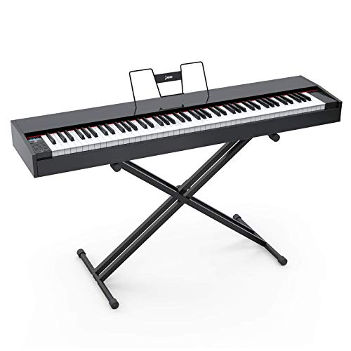 LAGRIMA LAG-620 Full Size Weighted Key Portable Digital Piano, 88 Key Electric Keyboard Piano with X Stand, Bluetooth, Sustain Pedal, Power Supply, Music Stand for Beginner/Adults, Black