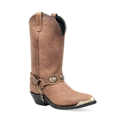 Masterson Women's J Toe Western Cowboy Boot with Chain (Distressed Brown, 11)