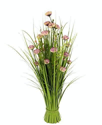 Flair Flower Grasbusch mit Ranunkel Blüten Bund stehend Stehgras Grasbündel Dekogras künstliches Gras Pflanzen Ziergras Osterdeko Frühjahr Kunstblume Blume, Rosa, ca. 73x32x32 cm