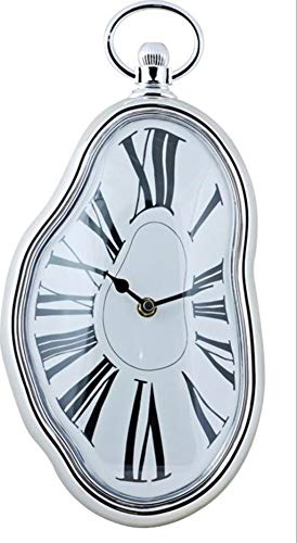 DECOHOUSE Reloj Pared Decorativo Original Dali, Oficina hogar Plateado Blanco