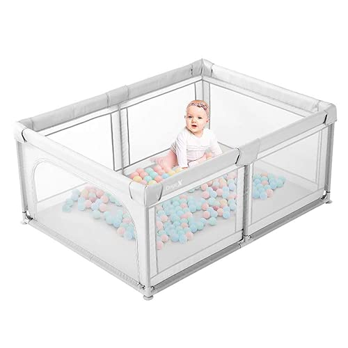 Baby Playpen Dripex Kids Safety Activity Center Indoor Outdoor Toddler Fence with Breathable Mesh Play Yard for Boys Girls Babies, 120x180cm(Grey)