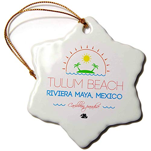 Kysd43Mill Alexis Design - Caribbean Beaches - Tulum Beach, Riviera Maya, Mexico, Caribbean Paradise Text and Image Christmas Ornaments Porcelain,Christmas Tree Decoration Ornaments