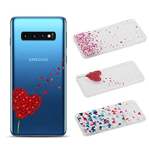 [3 Pack] Cover per Samsung Galaxy S10, Weideworld Trasparente Creativa Custodia TPU Gel Silicone Bumper Protettivo Case Cover, Amore