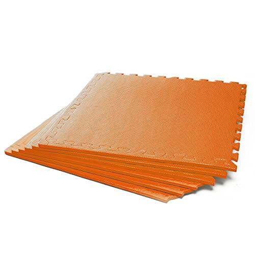 #DoYourFitness x World Fitness Puzzlematte »PuzzleMe« - Rutschfest & Wasserabweisend - 6 Puzzle Unterlegmatten Fitnessmatte Bodenschutz Matte - Training Fitness Büro - 60 x 60 x 1,2 cm - orange