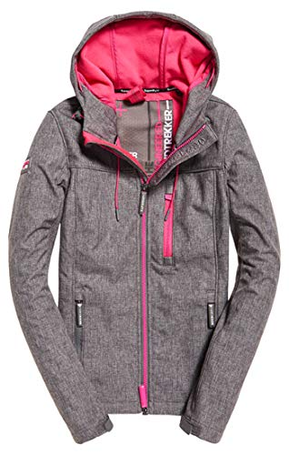 Superdry Damen Hooded Windtrekker Sportjacke, Grau (Storm Grey Grit/Sporty Pink Xf1), X-Small (Herstellergröße: 8.0)