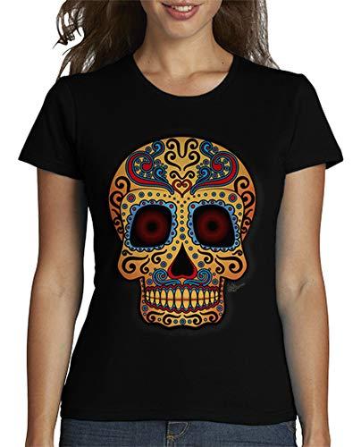 latostadora - Camiseta Calavera Mexicana Tribal para Mujer Negro M