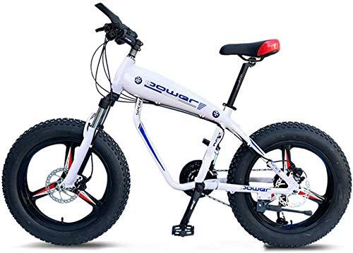 Aoyo 20-Zoll-Mountainbikes, 30-Gang Overdrive Fat Tire Fahrrad, Junge Frauen Alurahmen Hardtail Mountainbike mit Federgabel, Blau (Color : White, Size : 3 Spoke)