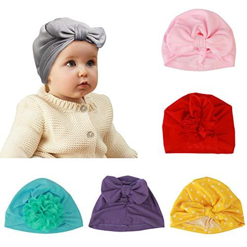 ZoomSky 6er Babymütze Boho Neugeborene Baby Mädchen Mütze Hut Kleinkind Kopf Elastische Stretch Turban 100% Super Weich Baumwolle Knoten Stirnband