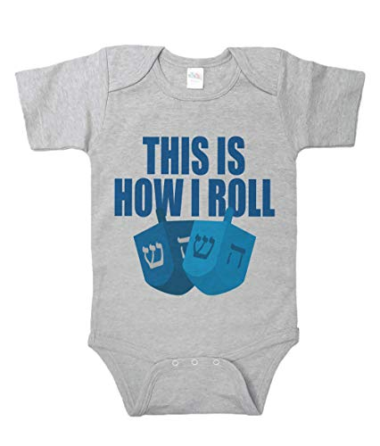 7 ate 9 Apparel Baby's How I Roll Funny Hanukkah Onepiece 12-18 Months Grey