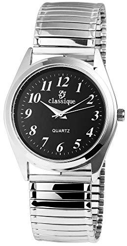 Classique Herrenuhr Schwarz Analog Metall Zugband Quarz Armbanduhr