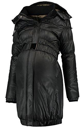 Love2Wait Damen Umstandsmode Jacken Mantel DOWN Coat Parker Long Jacket schwarz XS (32-34)