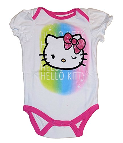 SANRIO Hello Kitty Baby Girls Bodysuit Dress Up Outfit (0-3 Months, Rainbow)