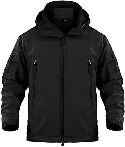 Memoryee wasserdichte Herren Softshelljacken für Herren Warme militärische Taktische Hoodies Camouflage Coat/Schwarz/4XL