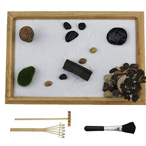 TOPofly Zen Garden Mini Kit Zen Garden Sand Box Tavolo Zen Sandbox Kit Home Decor Regalo per la casa Regalo Decorazione dell'ufficio