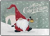 レトロなクリスマスGnomeウェルカムファームハウスエリアラグ、リビングダイニングルームベッドルームキッチン用冬休みラグ、5'X7'保育園ラグフロアカーペットヨガマット