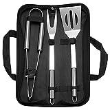 Errum Juego de 3 utensilios de barbacoa con pinzas para barbacoa, espátula y tenedor para carne, de acero inoxidable, con bolsa de almacenamiento