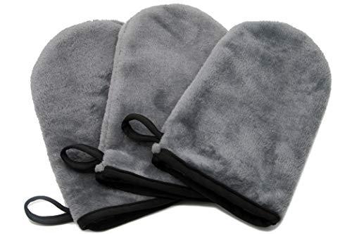 ZOLLNER24 Lot de 3 gants de toilette en microfibre, 20x13 cm, lavables