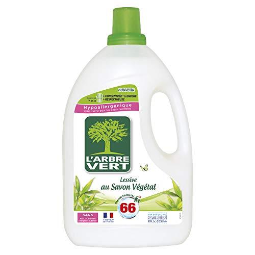 L'ARBRE VERT - Lessive Liquide au Savon Végétal - Hypoallergénique - Sans allergènes - 66 lavages - 3 L - Certifiée Écolabel Européen - Approuvée par les médecins allergologues de l'ARCAA