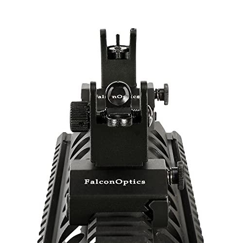 FalconOptics Flip Up Sights Rear Sight and Front Sight Iron Sights for Picatinny Rail