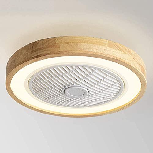 LED Invisible Ventilador De Techo Con Iluminación Luz De Madera, Ventilador De Luz De Techo Regulable Con Mando A Distancia, Tranquilo Lámpara De Ventilador, Para Dormitorio, Sala De Estar,Style 2
